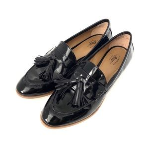 "Bass ""Noelle"" Black Patent Tassel Slip On Loafers"